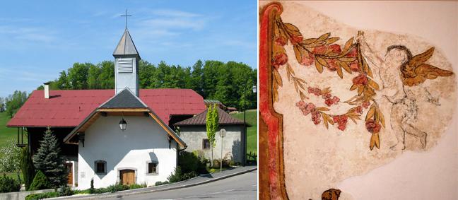 Bay, sa chapelle et la fresque aux angelots, A. Tobé ©