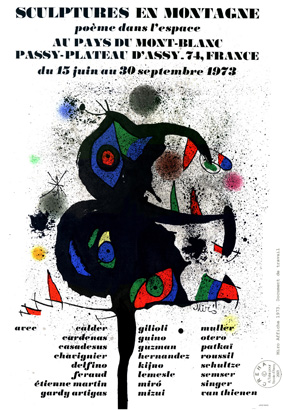 Laffiche de J. Miro pour Sculptures en montagne 1973 
