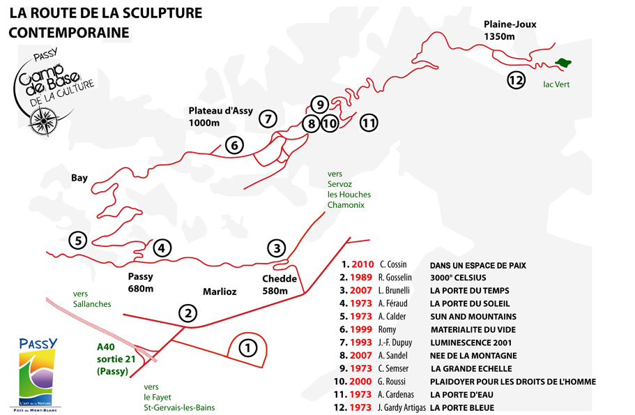 Le plan de la route de la sculpture contemporaine
